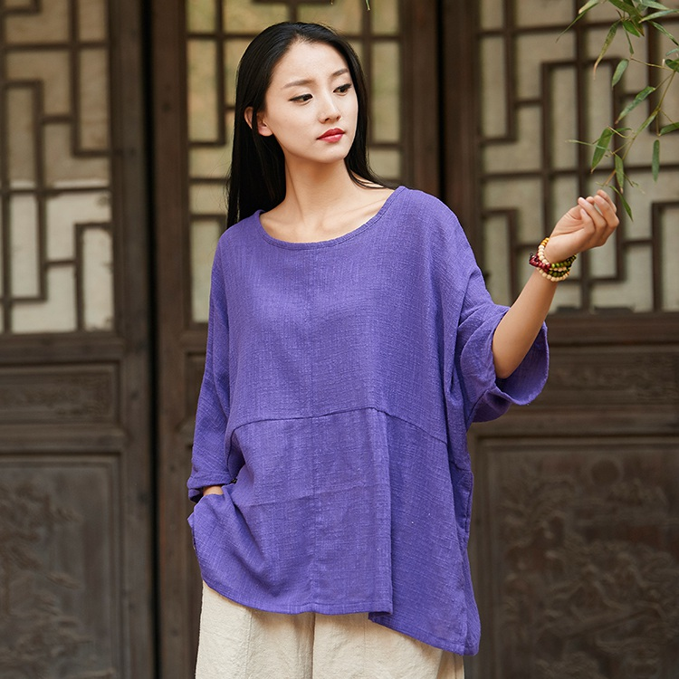 ORIGOODS Solid color Plus size Women Blouse Shirt Cotton Vintage Summer Loose Casual Shirts Women Tops and Blouses Femme B202