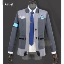 Ainiel gra Detroit: zostań człowiekiem Connor RK800 przebranie na karnawał mężczyźni Agent mundurek płaszcz i koszula dla dorosłych impreza z okazji Halloween