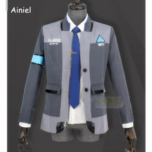 بدلة آنييل ديترويت: تصبح كونور RK800 بشرية زي تأثيري للرجال معطف وقميص موحد لحفلات الهالوين للبالغين