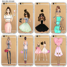 Sexy Beautiful Girl drink Phone Case For Apple iPhone 7 6 6s 5 5S SE 7plus 6sPlus 4 4S Transparent Soft Silicon Mobile Phone Bag