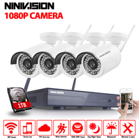 NINIVISION 2.0MP FULL HD Wifi CCTV Camera System Kit 4CH Wireless NVR Kit 1080P Wifi Wireless IP Camera Security Surveillance 1T