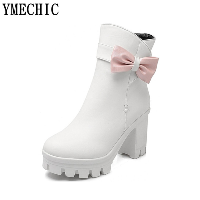 10afa7de600 US $23.44 48% OFF YMECHIC Lady's Sweet Butterfly knot Chunky Block High  Heel Platform Ankle Boots Bowtie Female White Black Pink Womens Punk  Shoes-in ...