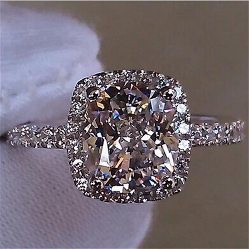 Fashion Show Elegant Temperament Jewelry Womens Girls White Silver Filled Wedding Ring