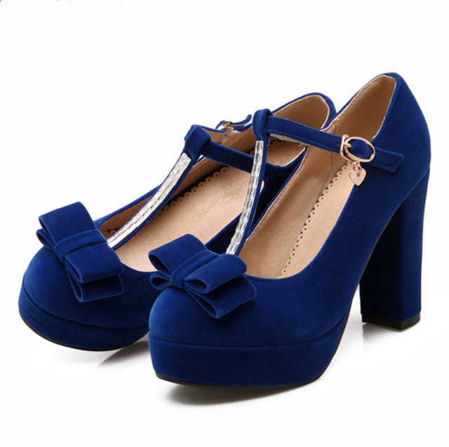 Hot Women Pumps 2016 Spring High Quality Flcok T-Strap High Heels Modern Women Shoes Bow Party Shoes Plus Size 43 Loubis Shoes