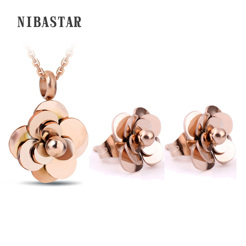 Flower Pendant Necklace Earrings For Women Jewelry Sets Fashion 316L Stainless Steel Gold/Rose Gold Color Choker Necklaces