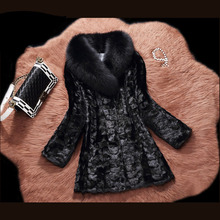 2016 Black Real Fox Fur Collar Genuine Mink Fur Coat for Women New Fashion Warm Autumn&Winter Noble Elegant Mink Fur Coat Women
