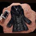 2016 Preto Gola de Pele De Raposa Genuína Casaco de Pele De Vison Real para mulheres Nova Moda Outono Morno & Winter Elegante Nobre Vison Casaco De Pele Das Mulheres