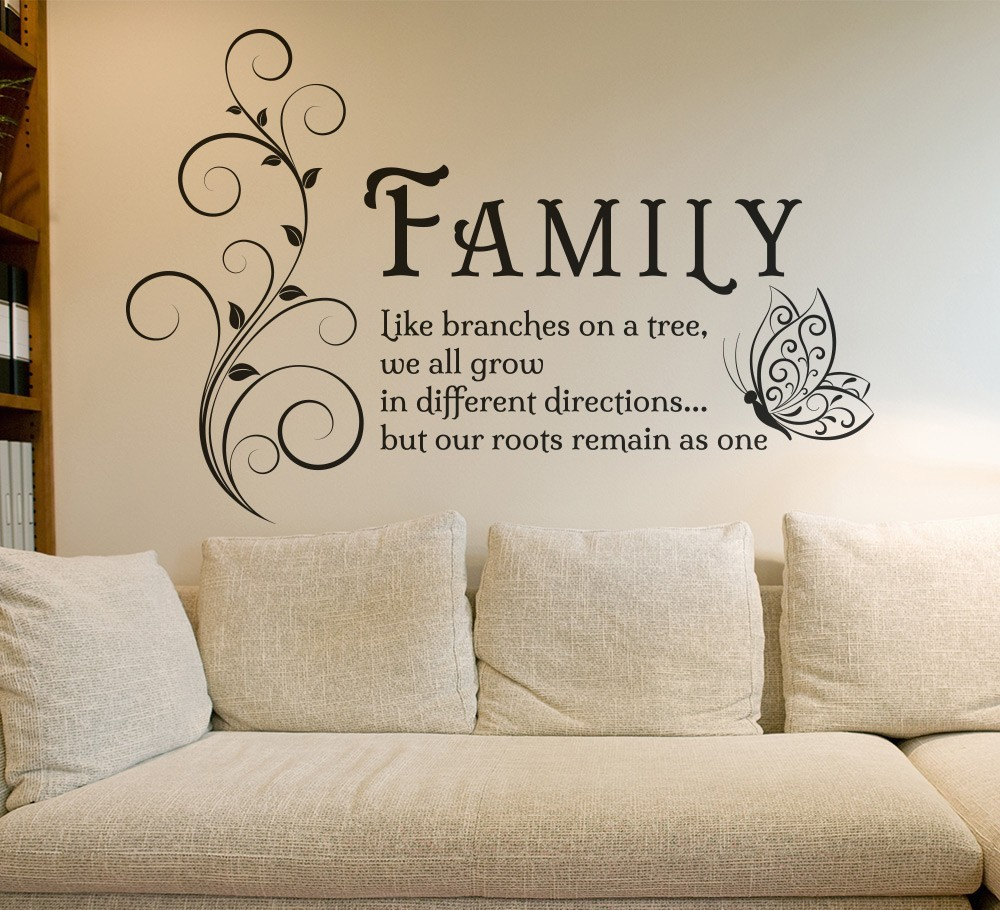 Family Like Branches Quotes Butterfly Vinyl Wall Art