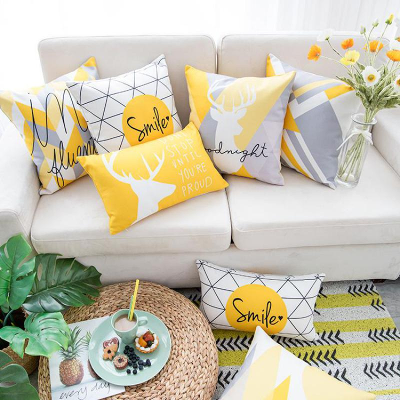 Yellow Gray Pillow Nordic Style Yellow  Elk Geometric Pillows For Living Room Decor Sofa Cushion Cojines Decorative Good Quality