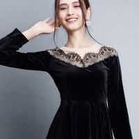 2018 Nuovo Elegante Ladylike Elegante Del Merletto Charming Sexy Delle Donne O Collo Manica Lunga Vintage Ball Gown Little Black Dres AL98077