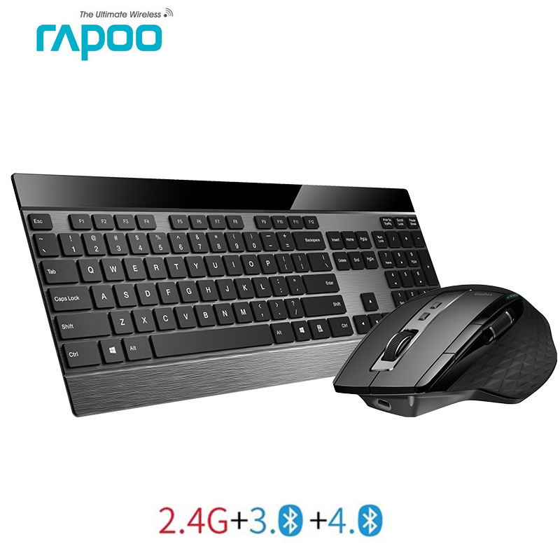 Multi-modo de Rapoo Teclado Sem Fio Fino De Metal & Recarregável Laser Combo Mouse Bluetooth 3.0/4.0 & 2.4G alternar entre 4 Dispositivos
