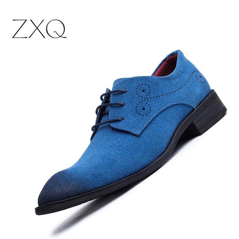 Newest Plus Size 38-48 Casual Men Faux Suede Leather Shoes Pointed Toe Lace Up Men Single Shoes Red Blue Men Wedding Shoes