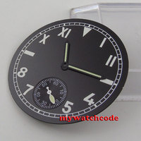 38.9mm siyah california aydınlık dial fit ETA 6498 mens watch D80 (+ eller)
