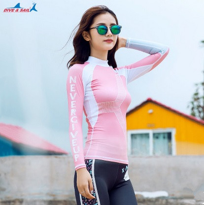 3441d7836fd6d Lady Long Sleeve Waterproof Swim Shirts Surfing Rashguard Women Plus Size  Water Sport Triathlon Wetsuit Top Diving Beach Clothes-in Rash Guard from  Sports ...