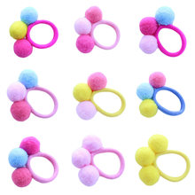 1 pcs Baby Girl Autumn Winter Models of three Wool Plush Ball Hair Circle Girls Hairline 12 Colors(China)