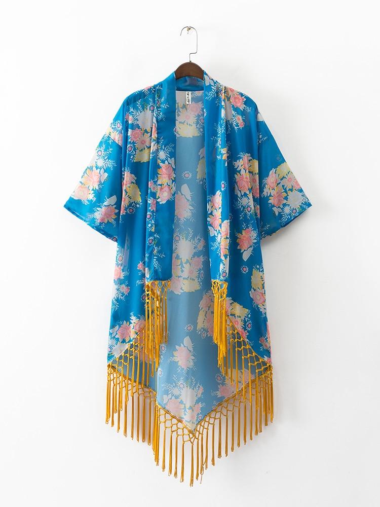 Venta caliente de Las Mujeres Gasa de La Impresión Floral Del Kimono Kimono Info