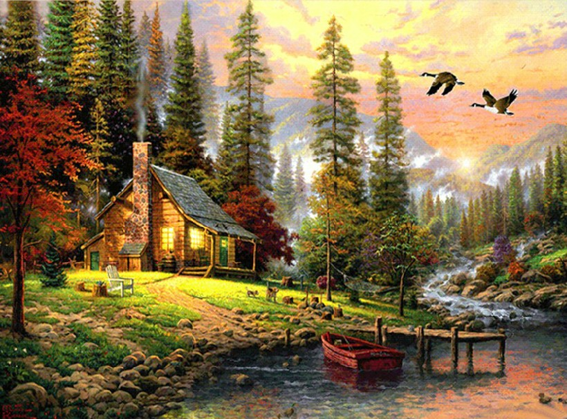 Paint By Numbers - Cabin In The Woods Paint on Canvas