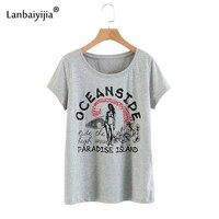 Lanbaiyijia новые хлопковая Футболка короткий рукав o образным вырезом летние футболки Для женщин футболка принт леди письмо печати Повседневно