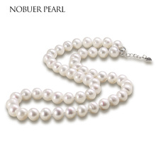 hot deal buy nobuer high quality handmade 925 silver natural freshwater pearl chokers necklace for women white & multicolor pearls jewelry