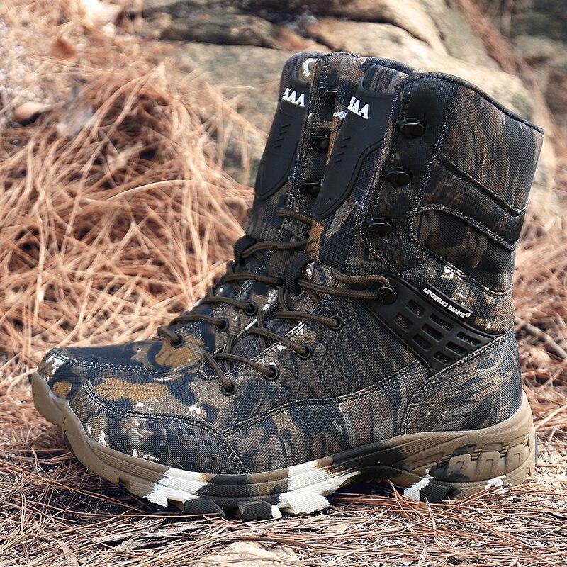 Haute qualité hommes militaire tactique formation bottes haut haut militaire Combat bottes marque Designer hommes désert bottes Camo hommes chaussures