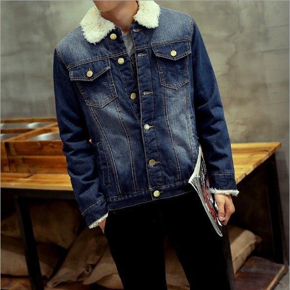 77b8cc107d51 Men's Winter Jeans Jacket Men Thick Warm Fleece Lined Denim Jacket With  Faux Fur Turn Collar Coat Plus Size M-XXXL