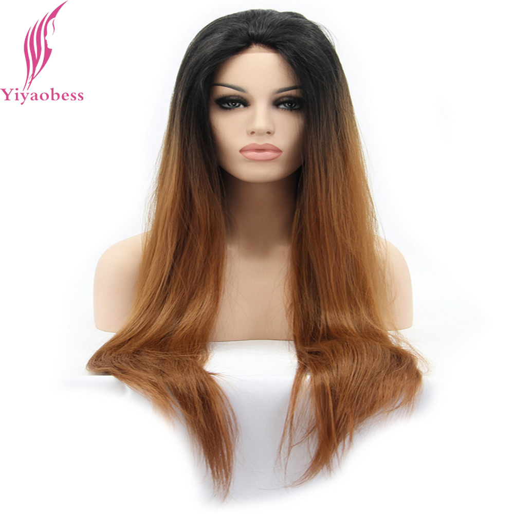 Yiyaobess Natural Straight Long Black Brown Ombre Wigs