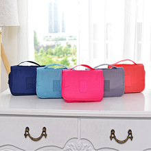 QIUYIN Female Portable Travel Wash Bag Large Capacity Solid Color Hook Package Custom Cosmetic Storage Bag Light