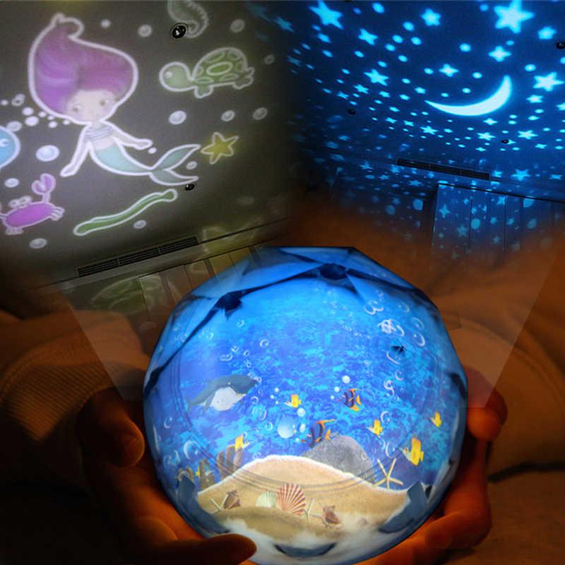 Mermaid Đêm Sáng Tạo Ánh Sáng Hành Tinh Ma Thuật Chiếu Vũ Trụ Đèn Đầy Màu Sắc Rotary Flashing Đầy Sao Trời Chiếu Quà Tặng Giáng Sinh