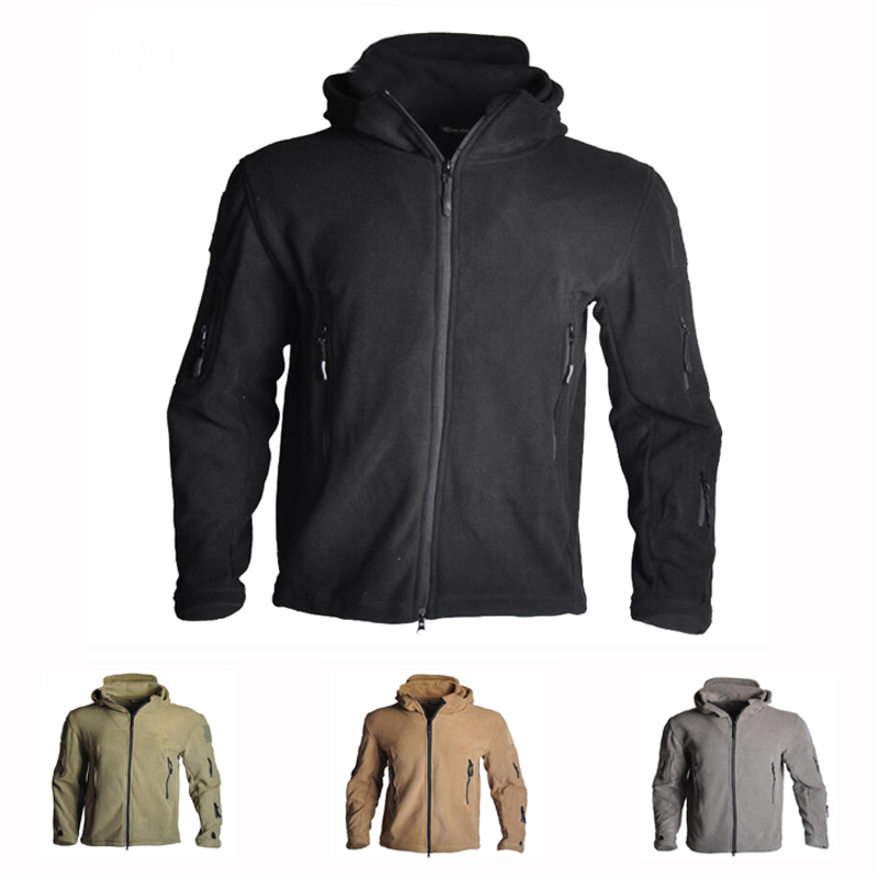 Men's Windproof Tactical Soft Shell Fleece Jacket Army Military Shooting Hunting Coats For Camping Hiking Thermal Hooded Jacket