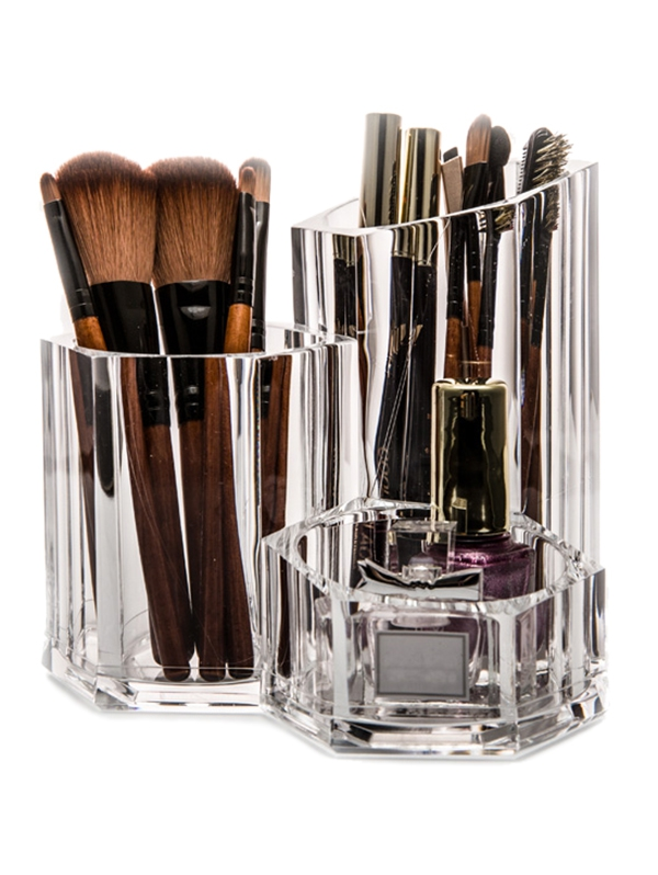 Fashion 3 Lattice Makeup Brush Pen Holder Acrylic Makeup Tool Organizer Home Desktop Jewelry Storage Box Cosmetic Collection