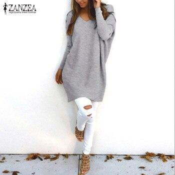 ZANZEA Женский вязаный свитер 2019 повседневные свободные пуловеры Топы женские v-образный вырез длинный рукав тонкий трикотаж плюс размер Blusas т... >> Fighting!!! Store