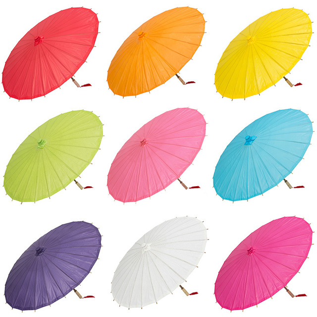 Hot Sale 40 Cm Handmade Colored Paper Umbrella China Traditional Kids DIY Painting Decorative