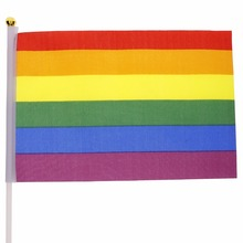 12 PCs LGBT Polyester Band Colors National Hand Flag