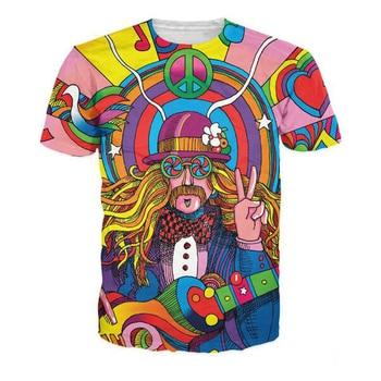 Colorful Groovy Hippie Musician 3D Printed T-Shirt Men/women Nataion Style Streetwear T shirt Summer Fashion Man Casual Tshirt