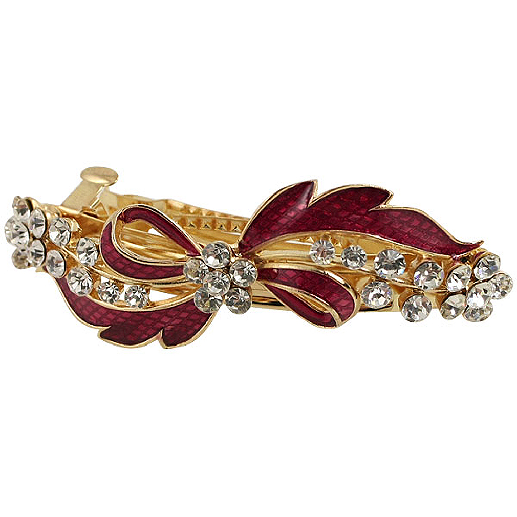 NEW Rhinestone Detail Red Bowknot Metal Hair Clip Barrette Gold Tone