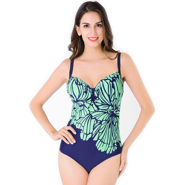 15b51896836 2017 New Ladies Women One Piece Swimsuit Plus Size Hollow Back Floral Print  Sexy Bathing Suit Swimwear Bikini Set L-4XL Bikini