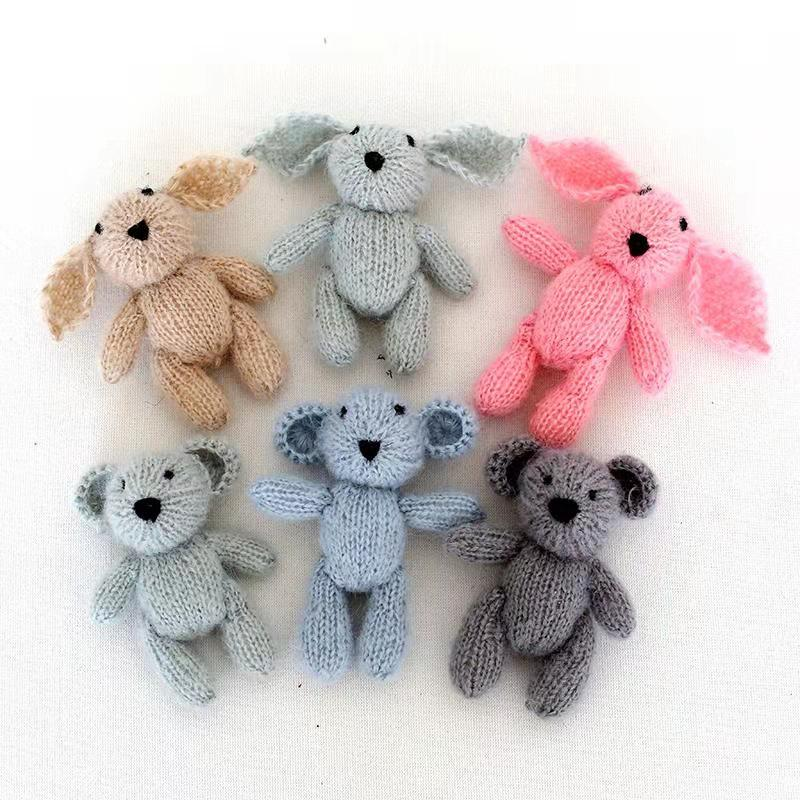 Knitted Teddy Bear Toy Photo Prop Crochet Bunny Toy for Newborn Photography Props Crochet Rabbit Baby Photo Prop Christmas Props