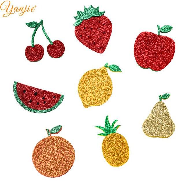 16 unids/lote 2019 nueva llegada creativo cuero brillo verano fruta piña sandía cereza naranja almohadillas de fieltro diadema Mujer