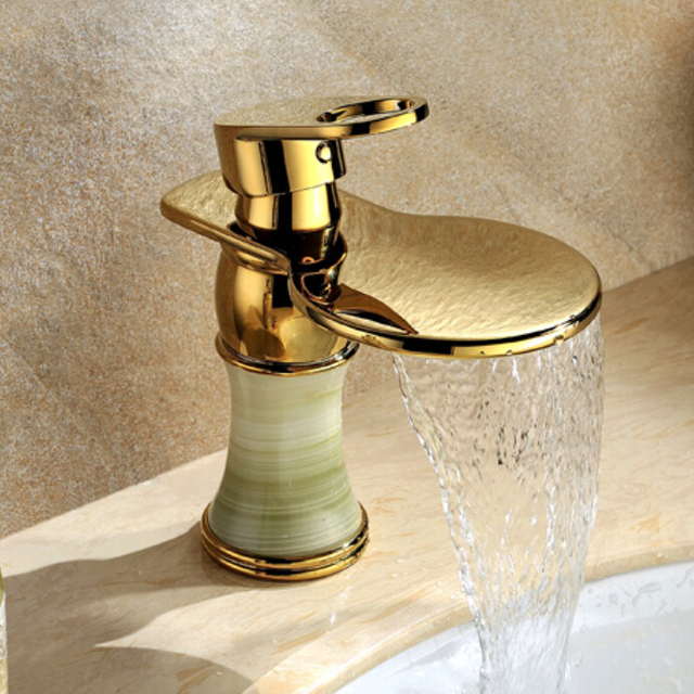 Single Handle Antique Marble Gold Plated Bathroom Faucet Copper Waterfall Hot And Cold Water