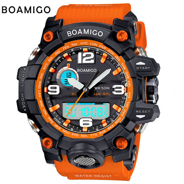 BOAMIGO марка мужчины спортивные часы двойной дисплей аналоговый цифровой СВЕТОДИОДНЫЙ Электронные кварцевые часы 50 М водонепроницаемый плавание часы F5100