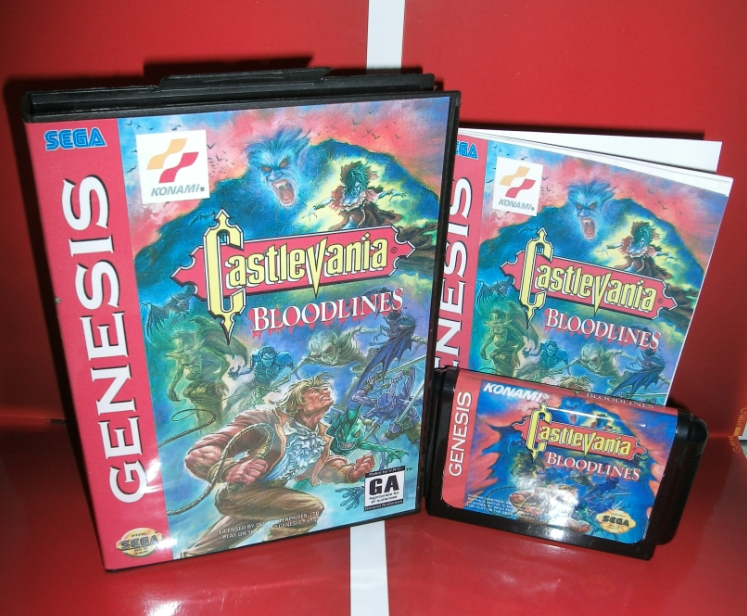 Castlevania - Bloodlines NTSC-U US Cover with box and manual For Sega Megadrive Genesis Video Game Console 16 bit MD card image