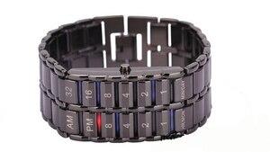 Image 5 - Neue Mode Digitale Uhr Coole Vulkanischen Lava Stil Eisen Faceless Binary LED Handgelenk Uhren für Männer Schwarz/Silber