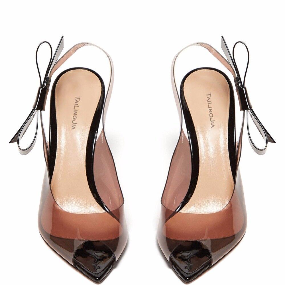 Damen Nette Pvc Mode Peep Heel Bogen Sandalen Schuhe Color High Transparent Klar Stilettos Toe Eleganz Frau Slingback zzSB1Tqvw