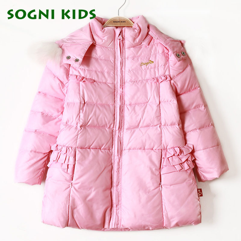 Girls Winter Down Coat Brand children White duck down jacket coat long thick Fur collar hooded parka kids girls warm outerwear