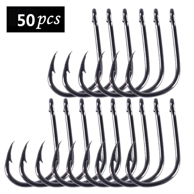 100Pcs High Carbon Steel Fishing Hooks Set in Fly Fishhooks Jig Barbed With Hole For Fishing Accessories Pesca 3# -16#