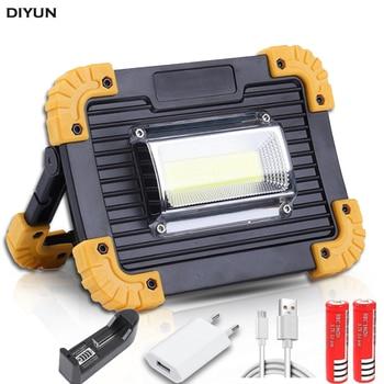 100W COB مصباح العمل LED المحمولة فانوس ماء 4-وضع الطوارئ الأضواء المحمولة قابلة للشحن الكاشف للتخييم الخفيفة