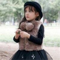 Girls Faux Fur Vest European Style Kids Fashion Waistcoat 2 10 Years Winter Warm Jacket Children