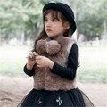 Meninas Faux Fur Vest Crianças Estilo Europeu de Moda Colete 2-10 Anos Inverno Quente Crianças Jaqueta Outwear Macio Novo chegada CL0880