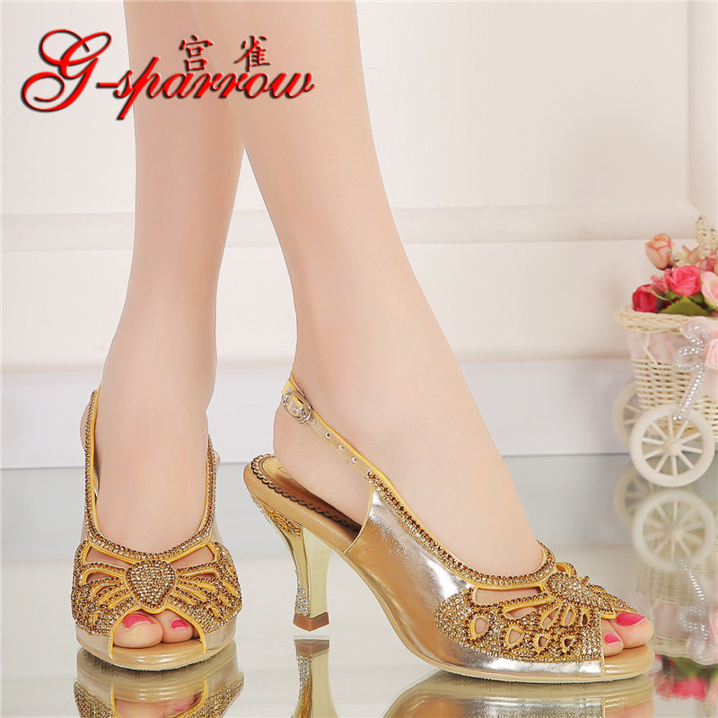 2019 Spring And Summer New Bow Diamond High Heeled Sandals Size 9 Large Size Womens Peep Toe Shoes Wedge Heels Online