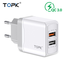 TOPK Quick Charge 3.0 18W Travel Wall Dual USB Charger Adapter EU Plug Mobile Phone for iPhone Samsung Xiaomi Huawei